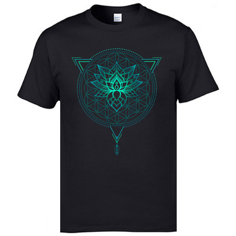 Geometric Mandala Lotus Flower Classic Tshirt Mens Summer Tops Tees Cotton Fabric Great   T     Shirt   OM   T  -  Shirts   Black   Shirts   Fashion