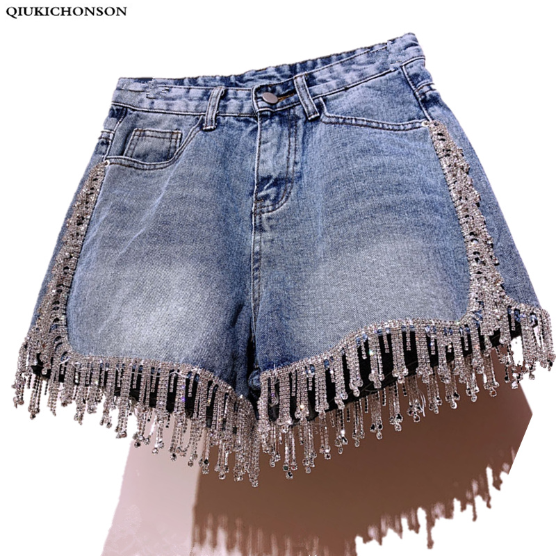 Qiukichonson Diamond Tassel Denim Shorts Women Summer 2019 England Style High Waist Knickers Ladies Sexy Short Jeans Feminino
