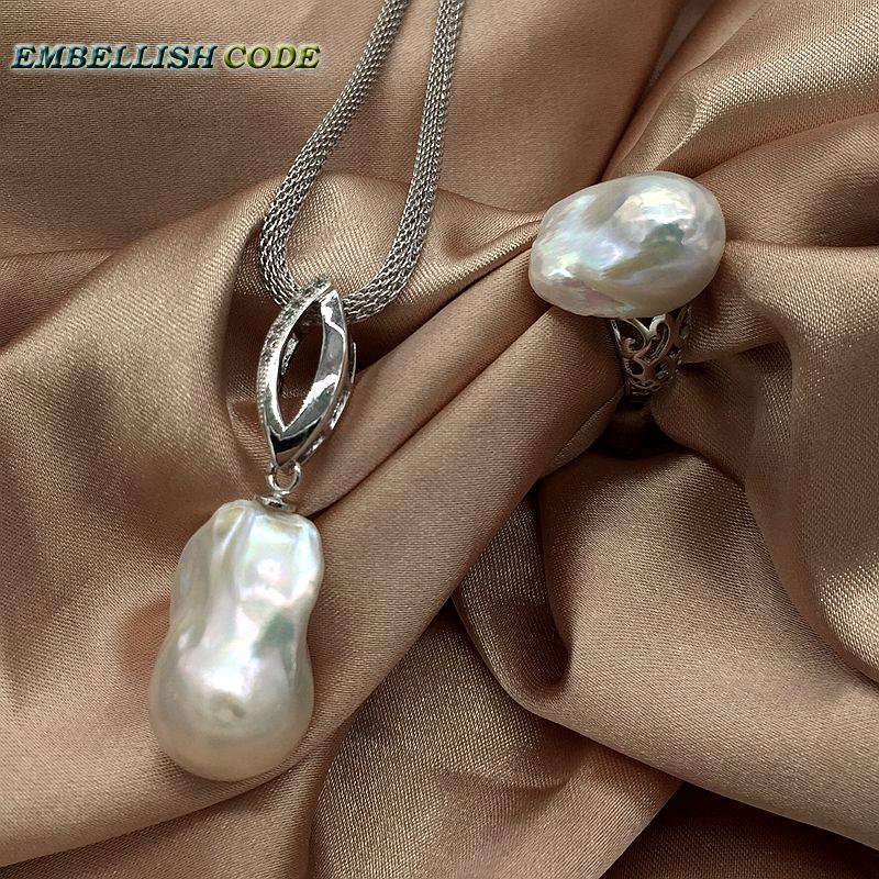 Hot ajuster anneau ailes d'ange baroque perle pendentif collier ensemble nucléé flameball forme Durable ajuster chaîne 925 sterling femmes