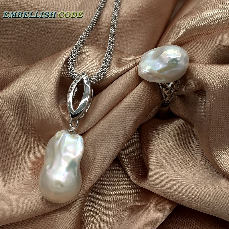 hot Adjust Ring Angel wings baroque pearl pendant necklace set nucleated flameball shape Durable adjust chain 925 sterling women rhinestone angel wings ring