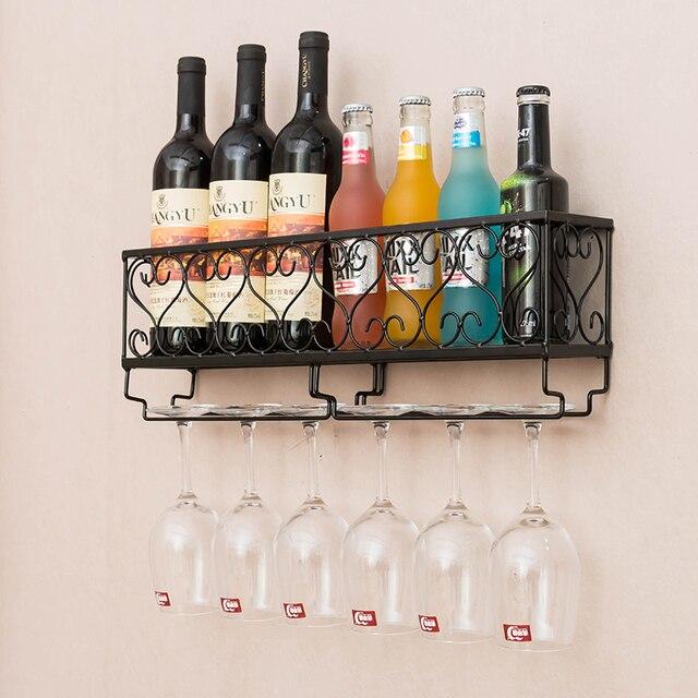 Metal Wine Rack Hanging Bar Glass Cup Frame Wine Red Wine Goblet Holder Storage Holder