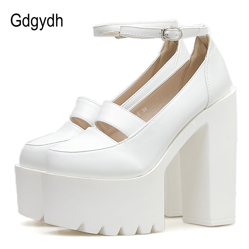 Gdgydh Wedding Shoes Bride Women Pumps 2019 New White Leather Platform High Heels Shoes Ankle Strap