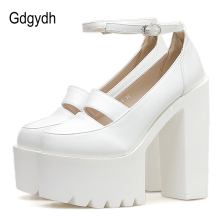 Gdgydh Wedding Shoes Bride Women Pumps 2019 New White Leather Platform High Heels Ankle Strap Spring Autumn Comfortable