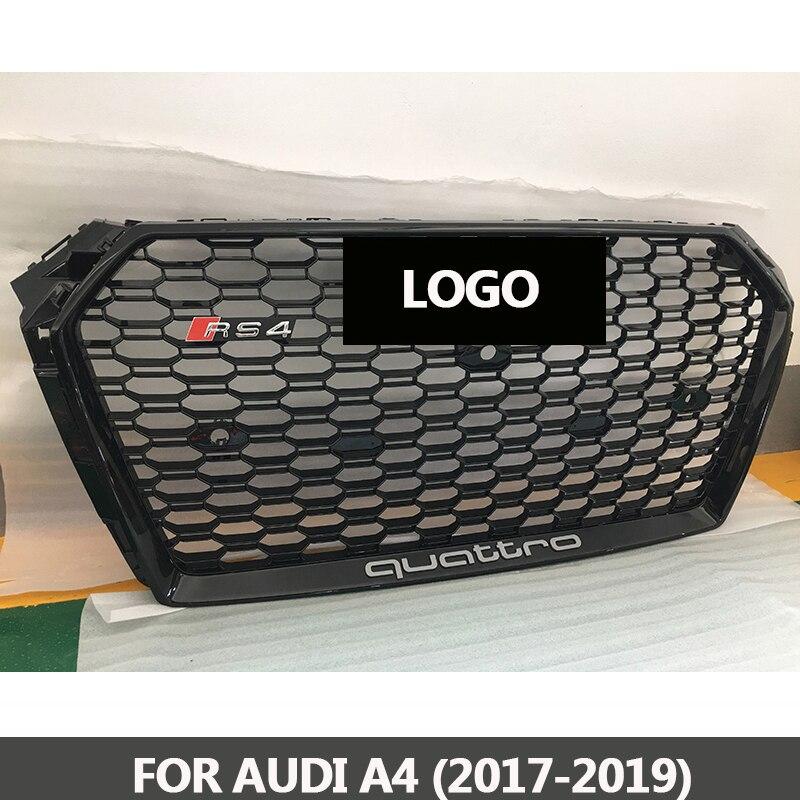 B9 Griglia RS4-Styling A4 ABS Verniciato Nero Anteriore Miele Mesh Grille per Audi A4 S4 RS4 B9 Berlina/Coupé /cabrio 2017-2019