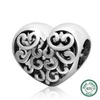 ChaWin 100% 925 Fit DIY קסם סגנון עתיק הכסף סטרלינג פיליגרן לב סגולה צמידים ושרשרות