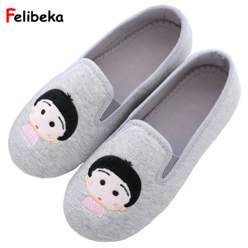 Cute Animal Cartoon Spring Home Slippers Women Indoor Cotton Shoes For Girls Ladies Female House Bedroom Floor Warm Flats qweek women home animal slippers fur indoor rabbit slippers warm ladies cute funny adult slippers female slide house shoes
