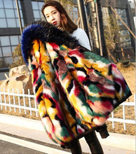 Women Elegant Fur Coats Colorful Faux Fur Coat Multicolor Long Sleeve Hooded Collar Casual Woman Winter Fur Coats