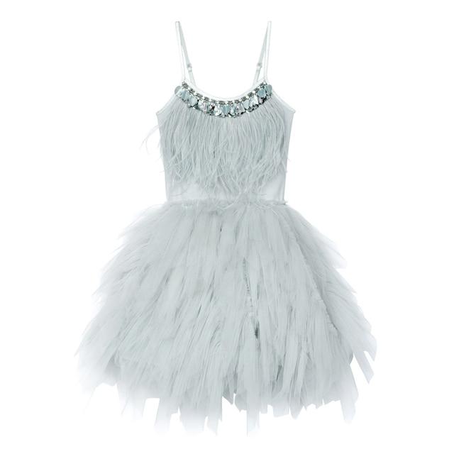 JOYHOPY Flower Girl Dress Fashion Feather Tassels Girls Wedding Party Dress Girls Princess Dresses Clothing 2-7 5