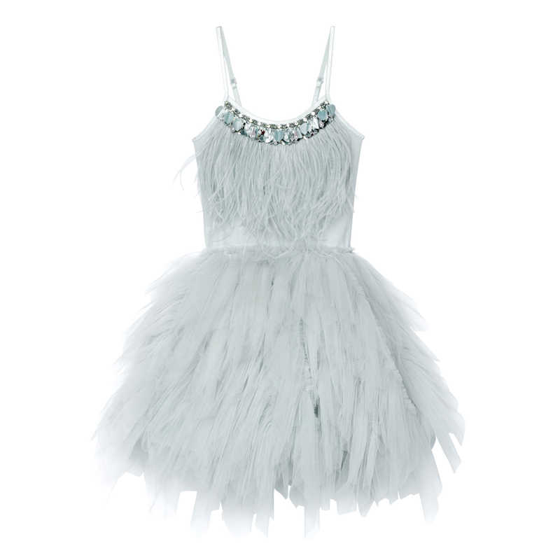 JOYHOPY/платье с цветочным узором для девочек модное свадебное платье с кисточками и перьями для девочек платья принцессы для девочек, одежда для детей от 2 до 7 лет