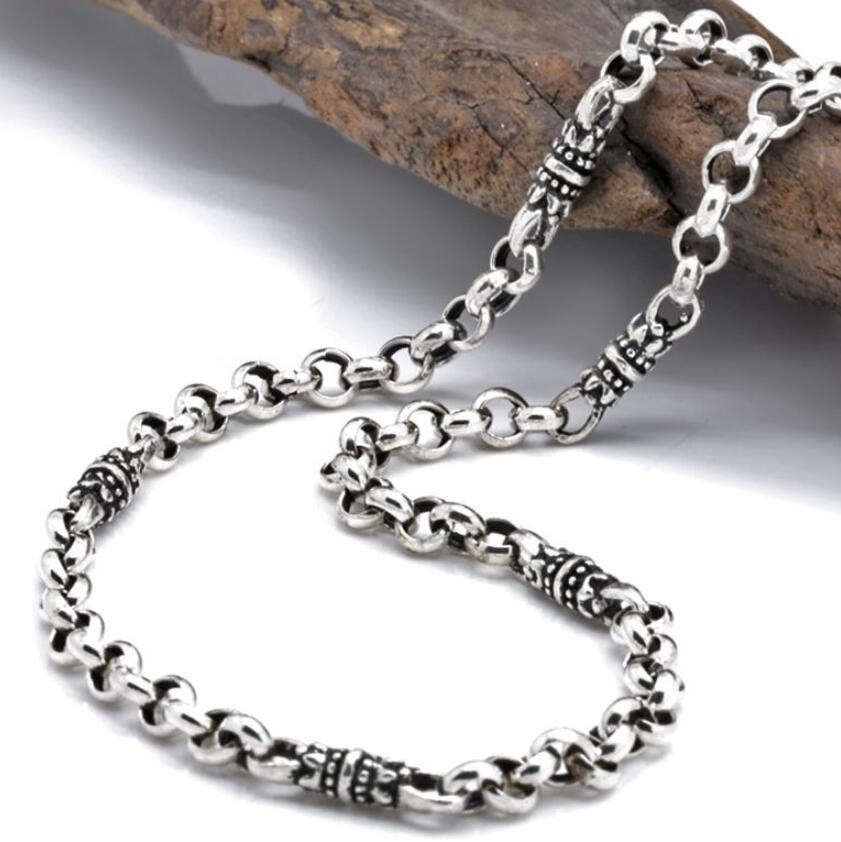 4mm Thick 925 Sterling Silver men's Classic Thai Silver Floral Buckle S925 Necklace (3AHP1)