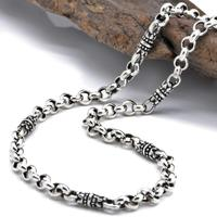 925 sterling silver men's classic Thai silver 4mm thick floral ring buckle necklace