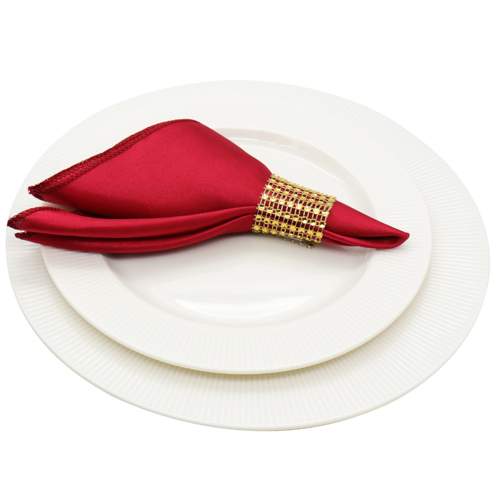 50pcs 12'' Table satin Napkins Square Satin Fabric Napkin Pocket Handkerchief for Wedding Decoration Event Party Supplies image
