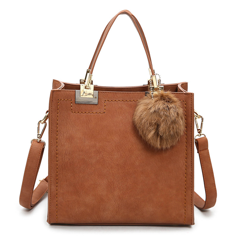 2017 New Designer Handbag Women Casual Tote Bag Female Large Shoulder Messenger Bags High Quality PU Leather Handbags Fur Ball new 2016 women bag vintage canvas handbags messenger bags for women handbag shoulder bags high quality casual bolsa l4 2669