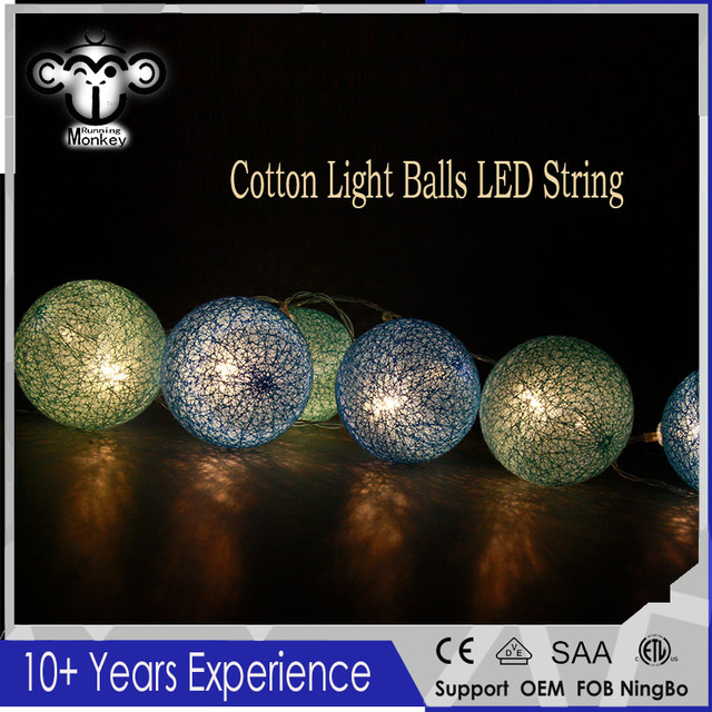 cotton light balls led string fairy christmas lights decorative garlands wedding supplies villa fence beach party