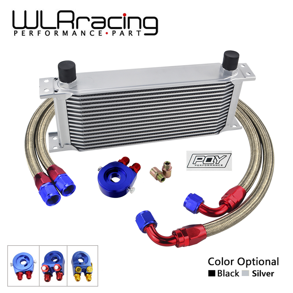 WLR- UNIVERSAL 16 ROWS OIL COOLER+OIL FILTER SANDWICH ADAPTER + SS NYLON STAINLESS STEEL BRAIDED AN10 HOSE WITH PQY STICKER+BOX цена