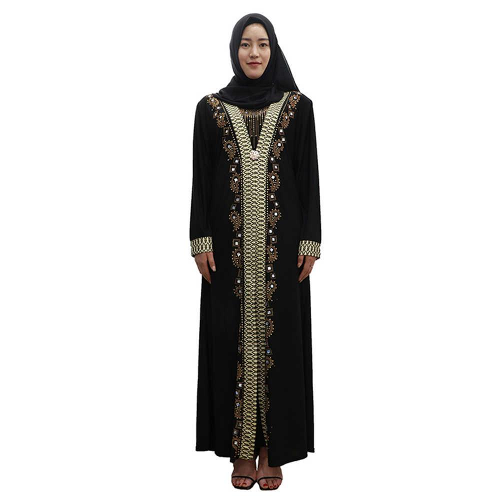 85753b76c1 ... Black Gold Islamic Dress Women Long Sleeve Dubai abaya Robe Hijab Arab  Worship Prayer Garment Female ...