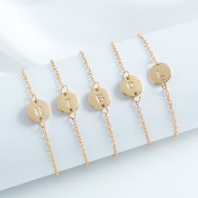Female Simple Fashion Gold Color Letter Coins Bracelets for Women Initial Name Personality Charm Bangles Jewelry Custom Chain