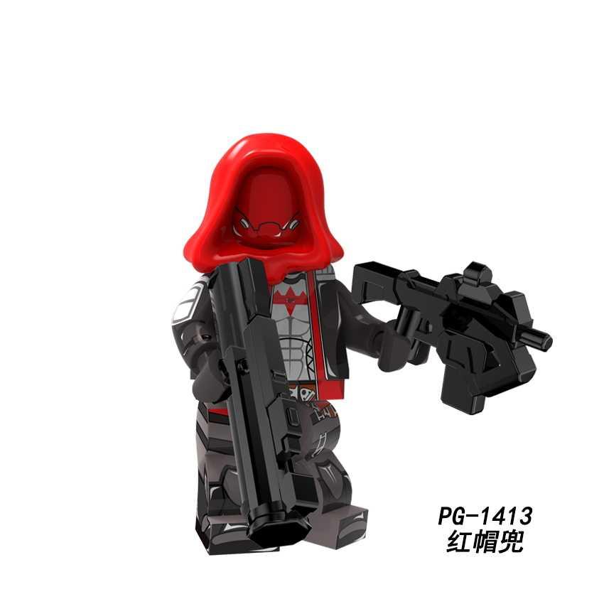 DC süper kahraman Dick kovboy Deadpool Deathstroke Catwoman Joker kırmızı Hood rakun Ghost Rider blok oyuncaklar Legoed Minifigured