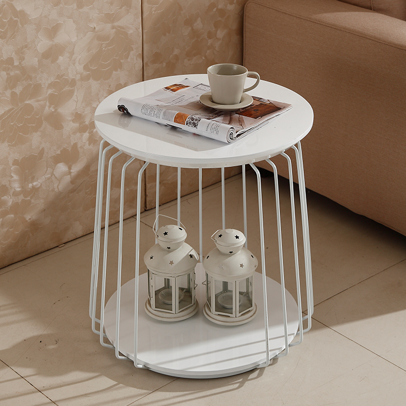 Simple and modern new round of the hardware sheet metal double angle table mobile phone tables simple fashion table desktop is mdf fine processing the leg of the table is made of solid beech black and white can be chosen