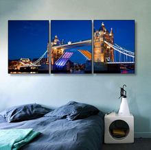 Laeacco Canvas Painting Calligraphy 3 Panel Wall Artwork London City Night  Posters and Prints For Living Room Home Decor