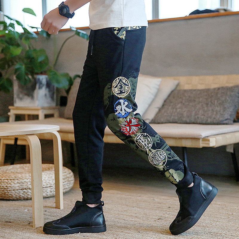 China kanji Cotton Pants Full Length Embroidery Chinese Thin Sweatpants