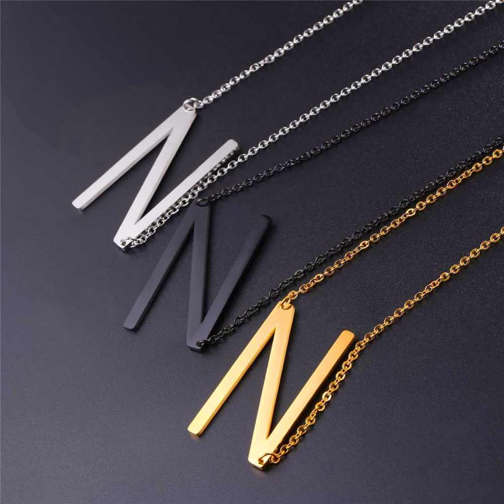 Starlord Letter N Pendants&Necklaces For Women Men Stainless Steel Necklace Personalized Lucky Gift Alphabet Jewelry GP2614