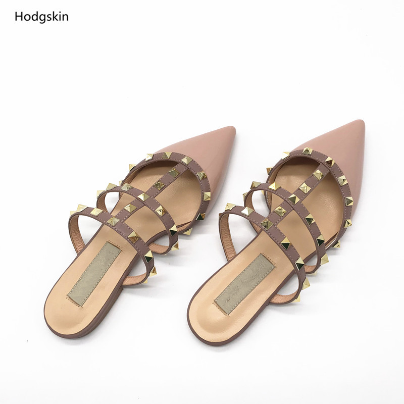 Womens Rivets Slipper Pointed Toe Casual Mules Shoes Slide New Backless Cut Out