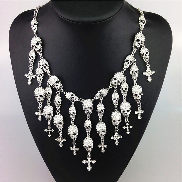 Mulheres de luxo crânio cruz colares moda rhinestone chunky choker colares declaração de designer de marca do vintage colares pingente