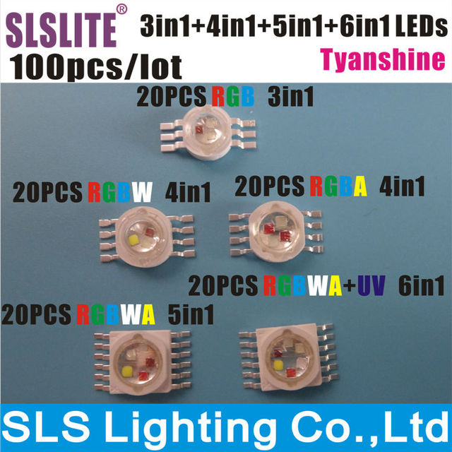 100PCS/LOT LED Lamps chip RGB 3IN1 RGBA RGBW 4IN1 RGBWA 5IN1 RGBWA+UV 6 in1 TianXin Brand TYANSHINE RGBWAUV 6IN1 stage lights