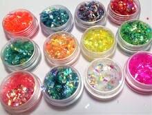 12 коробок/радужные конфеты для дизайна ногтей Единорог раздавленный