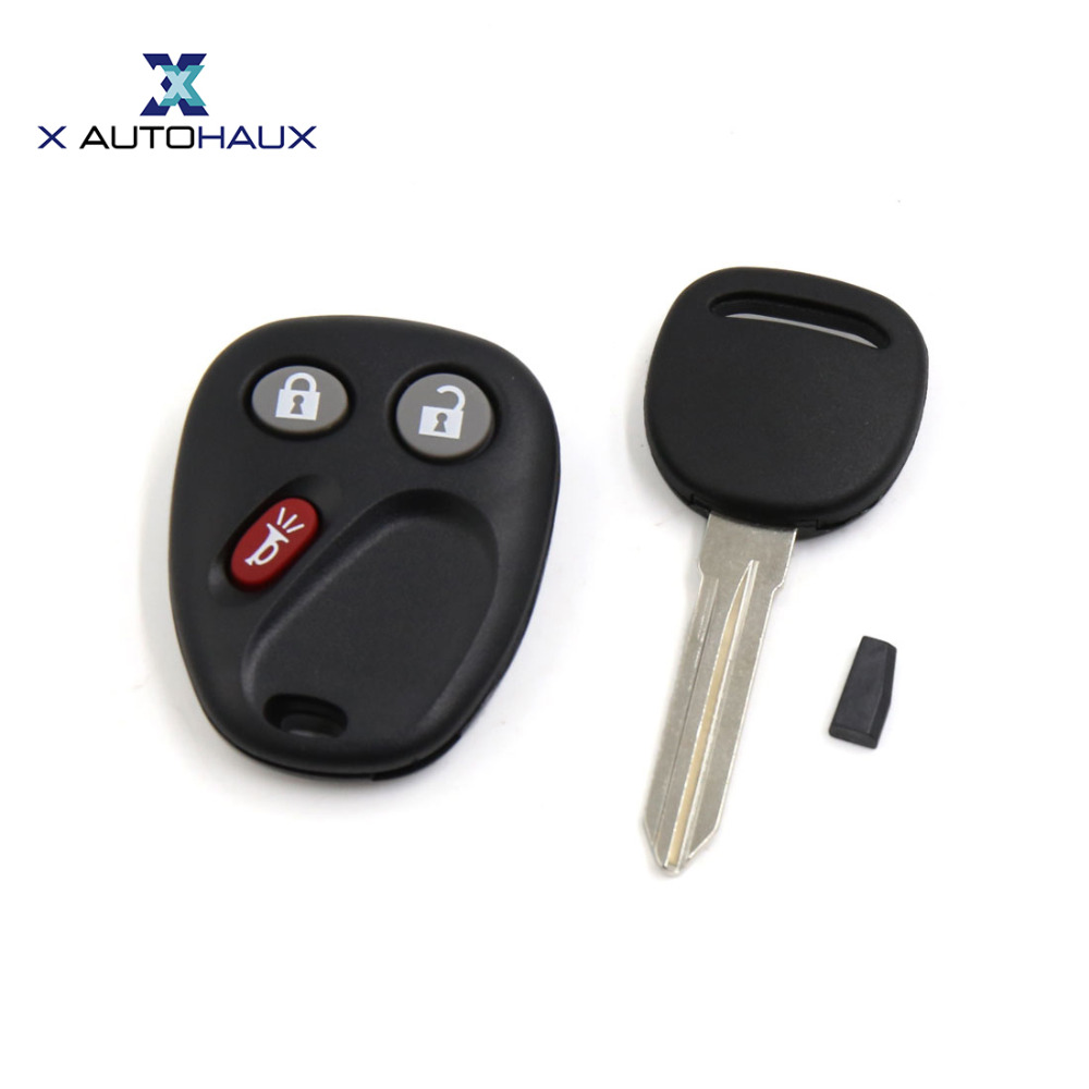 X AUTOHAUX Replacement Car Keyless Entry Remote Control Fob Clicker w Ignition Key for Cadillac Escalade For Chevrolet Silverado
