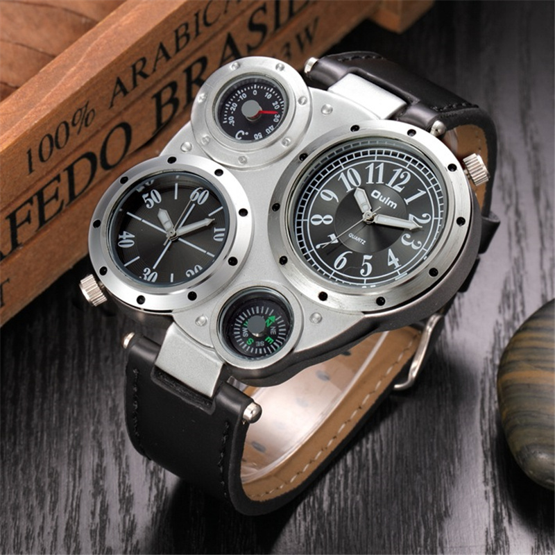 Oulm Men Watches Antique Male Quartz Watch Top Brand Luxury Sport Wristwatch Man Casual Leather Strap Watch relojes hombre natural bamboo watch men casual watches male analog quartz soft genuine leather strap antique wood wristwatch gift reloje hombre