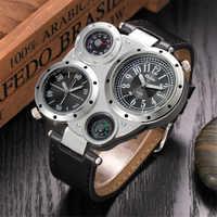 Oulm, relojes de cuarzo para hombre, reloj de pulsera deportivo de lujo de la mejor marca, reloj de pulsera informal de cuero para hombre