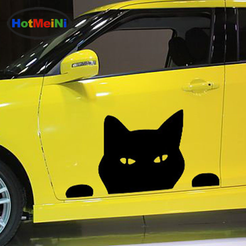 HotMeiNi length:70cm Peeking Cat Funny Pet cartoon naughty Styling Car Sticker Van RV Trailer Vinyl Decal Casual Happy Holiday