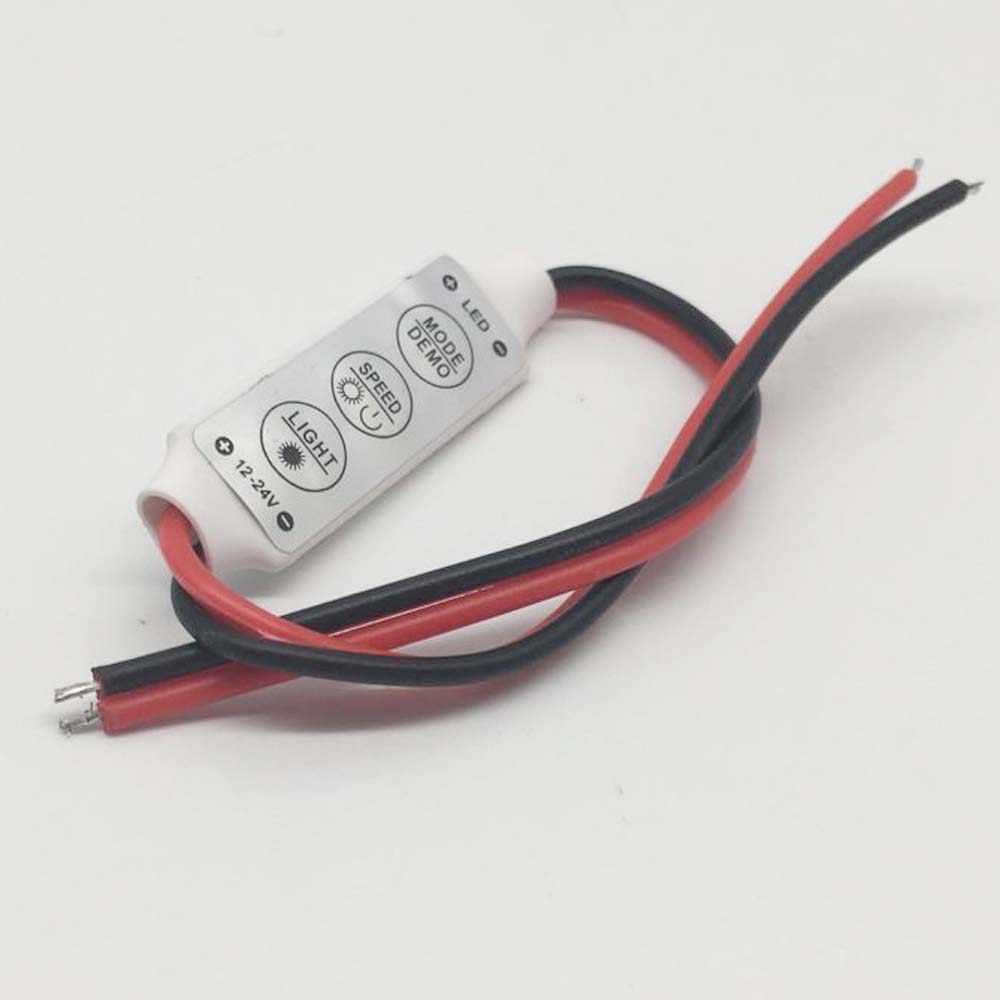 Mini controlador led de cor única, controlador de brilho regulável para led 3528 5050, 12v-24v, 3 teclas