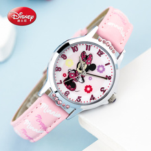 100% Genuine Disney brand Cute Minnie mouse kids cartoon good PU watch Lovely Girls fashion casual simple quartz wristwatch