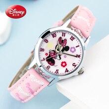 100% Genuino de la marca Disney Minnie ratón Lindo historieta de los cabritos buena PU reloj Lovely Girls moda casual simple reloj de pulsera de cuarzo