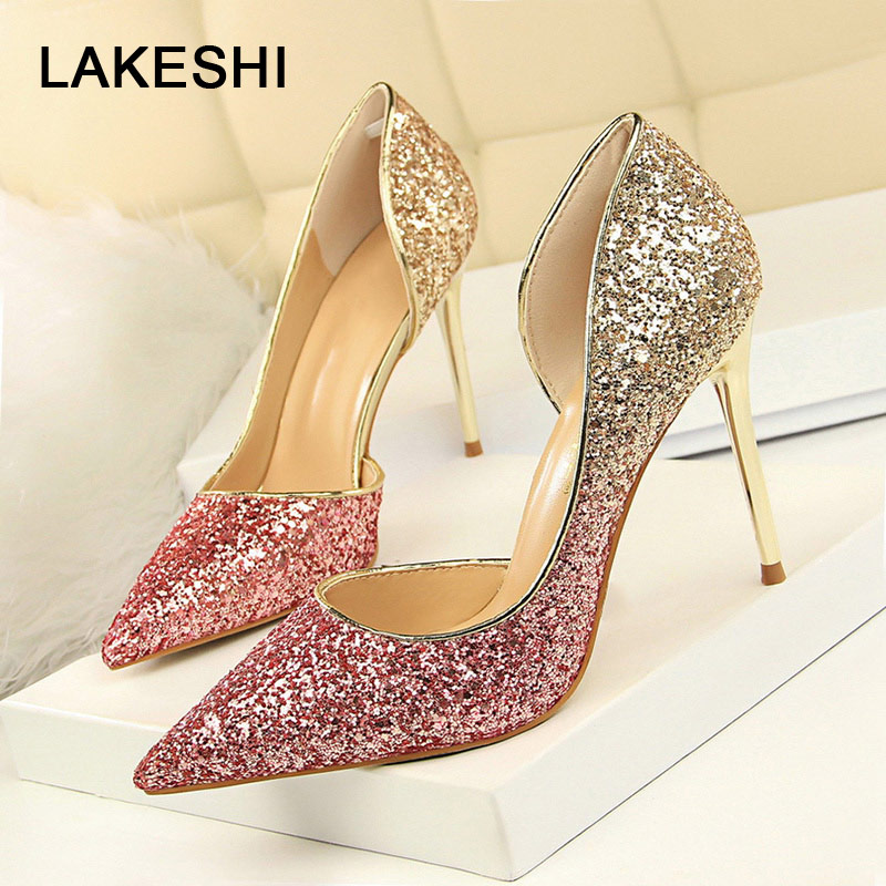 LAKESHI Women Pumps Stiletto Extreme Gradient Party Bling High-Heels Sexy Fashion Wedding