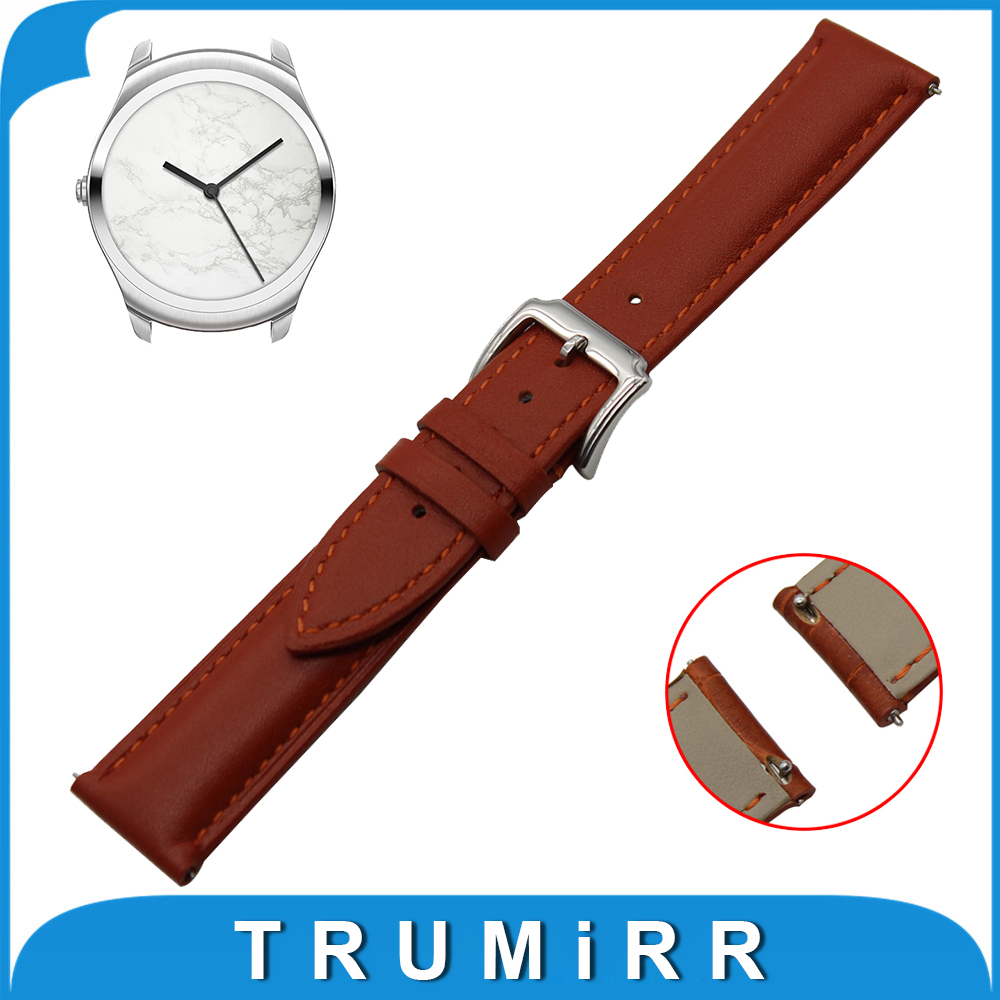 20mm First Layer Genuine Leather Watch Band Quick Release Strap for Ticwatch 2 42mm Wrist Belt Bracelet Black Brown +Spring Bar genuine leather watch band 20mm for motorola moto 360 2 42mm men 2015 stainless buckle strap wrist belt bracelet black brown