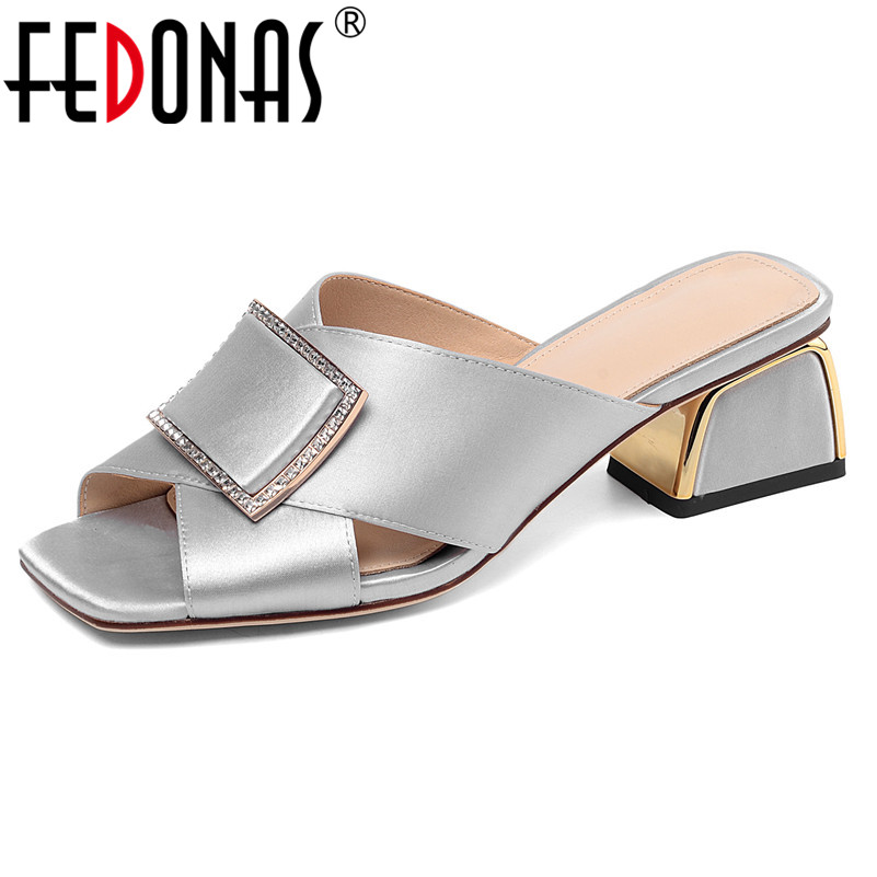 FEDONAS Gladiator Slippers Fashion Women New Elegant Square High Heels Quality Silk Metal Summer Sandals Prom Party Shoes Woman