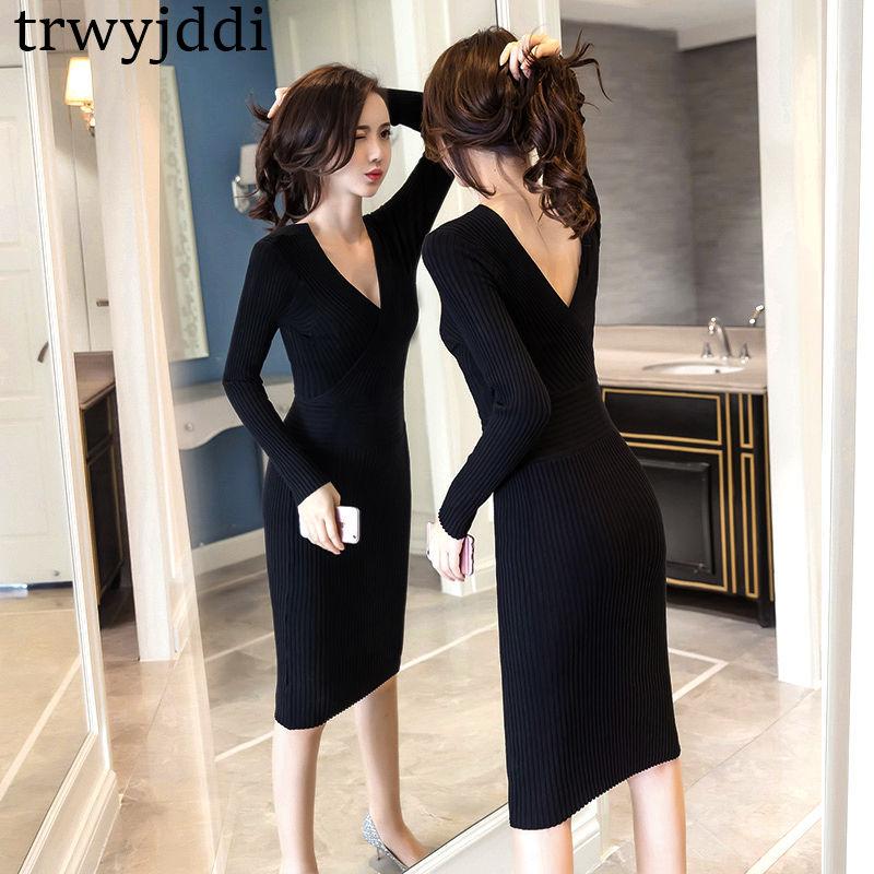 Pull Cou Sexy Robe Slinky 2018 Mode N36 V Red Longues Manches Black Iq4gXBx 83e17845a4e
