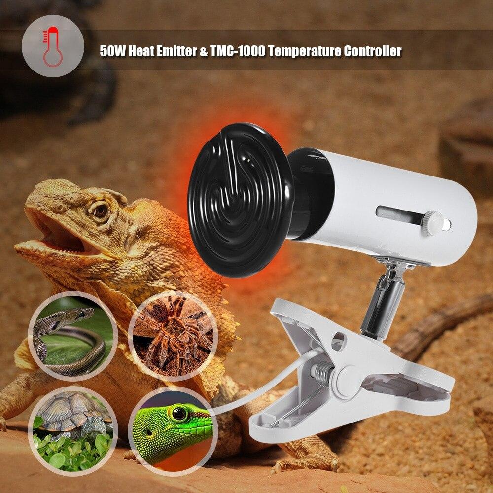 Pet Thermometer 3pcs/ Set 50/100W Heat Emitter Ceramic Lamp Bulb & Lamp Holder & Temperature Controller for Reptiles Terrarium
