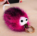 Super Cute Hedgehog 100% Mink Fur High Grade Keychain Pendant For Car Key Handbag Purse Charms Accessory Lucky Fortune Product