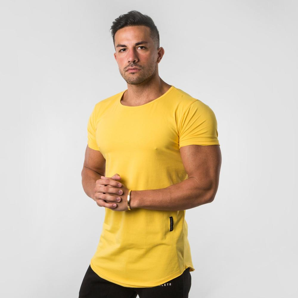 2019 Yellow Pure color Gyms Tight Cotton   T  -  shirt   Mens Fitness   T  -  shirt   Homme Gyms   T     Shirt   Men Fitness Crossfit Summer Tees Tops
