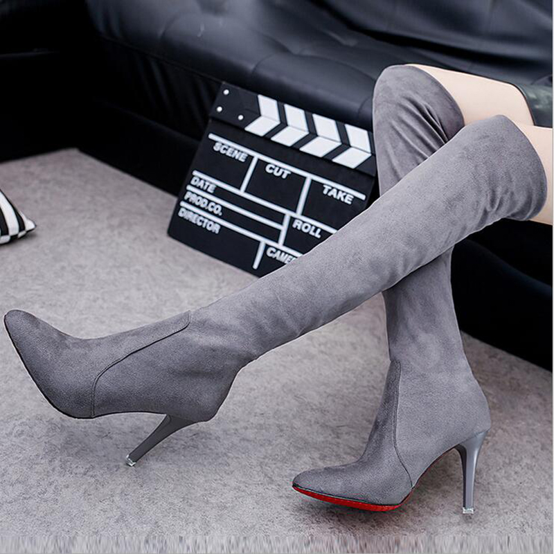 2016 New Fashion Winter Women Boots Over-the-knee Suede Leather Ladies Sexy High Heels Shoes Thigh High Boot Zapatos Mujer armoire new sexy genuine leather black over the knee thigh high boots ladies nude shoes low heels leica aga20 big size 33 43 10