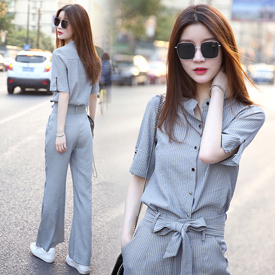 Summer Wear The New Suit Female Fashion Leisure Shirt Tie-in Tall Waist Wide-legged Pants Two-piece Goddess Van