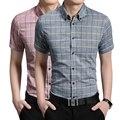 A nova primavera/verão 2017 de moda grade Homem han edição cultivar a moralidade de manga curta camisa do negócio do algodão camisa