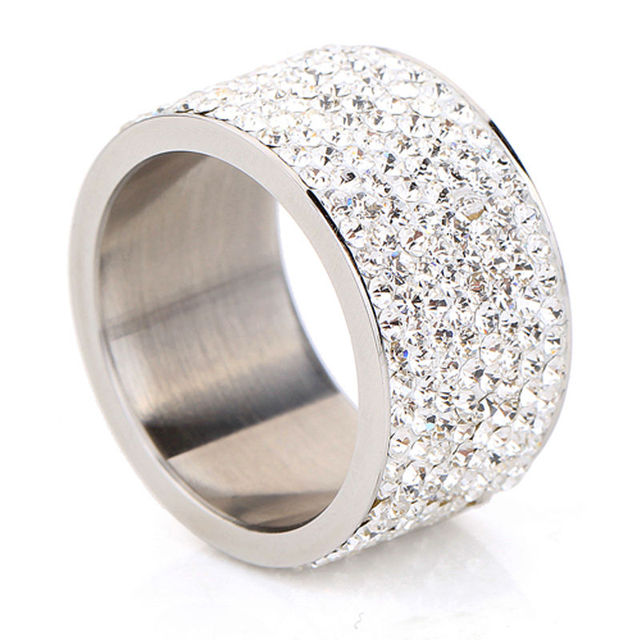 Fashion Wholesale shining full rhinestone stainless steel wedding ring for women & men gold silver plated Crystal Jewelry Girl