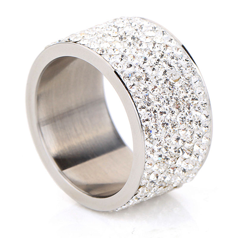 Divat nagykereskedelem ragyogó teljes strasszos rozsdamentes acél esküvői gyűrű női és férfi arany ezüstözött kristály ékszer lány