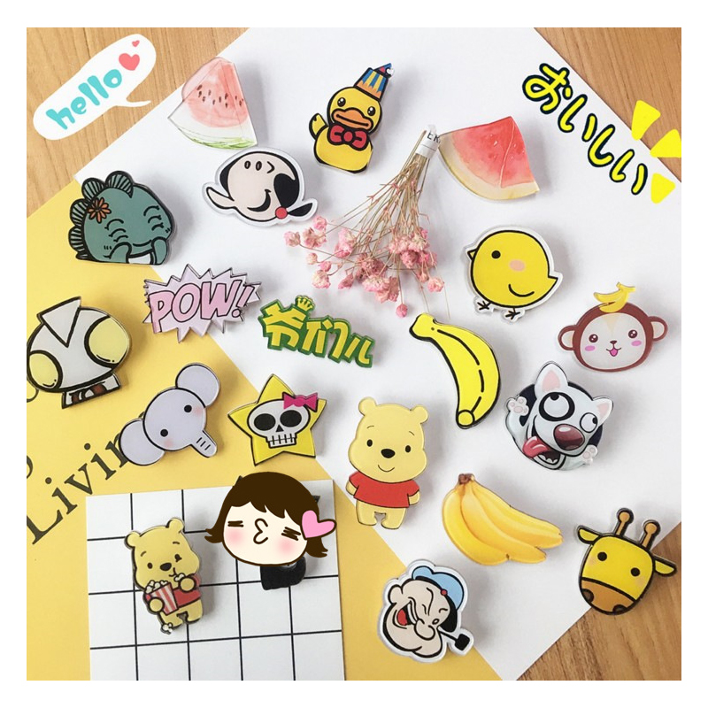 1p cartoon brooch acrylic pin badge icon backpack medal decorative plate clothes in Pins Badges from Home Garden
